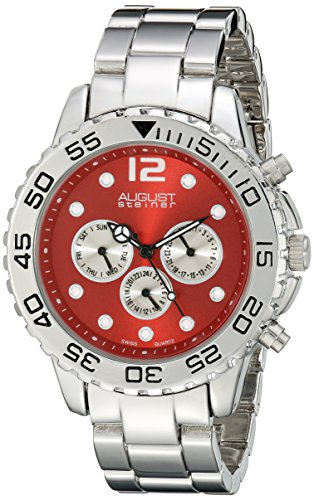 August Steiner Men's AS8158RD Silver Multifunction Swiss Quartz Watch with Red Dial and Silver Bracelet