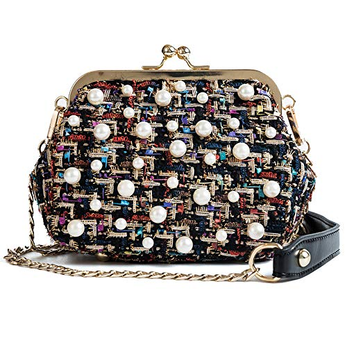 - Small Crossbody Purse Houndstooth Tweed Kiss-lock Pearls Shoulder Bag with Chain Strap (Colorful)