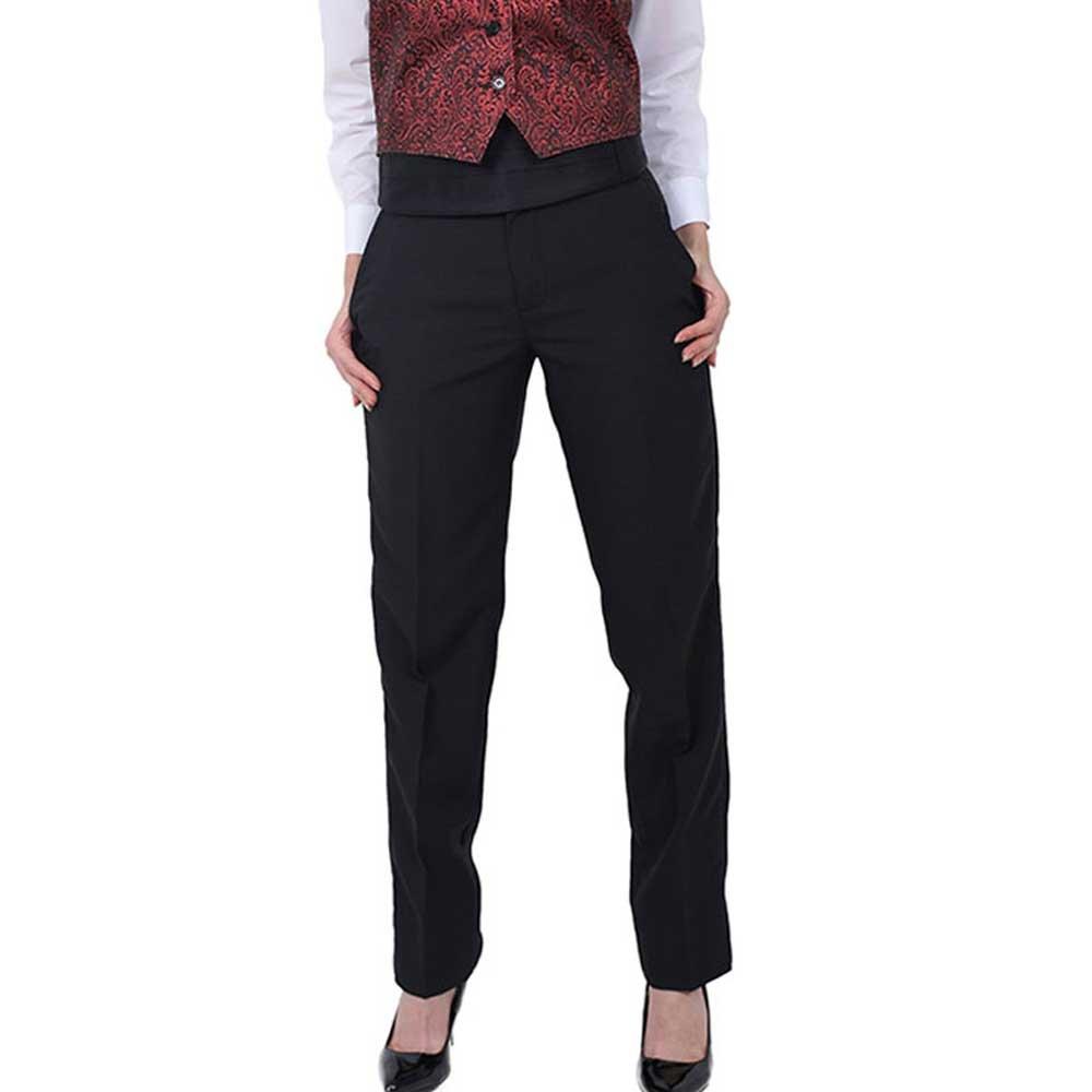 SixStarUniforms Women Plain Front Tuxedo Pants Black SS4100L-PANTS