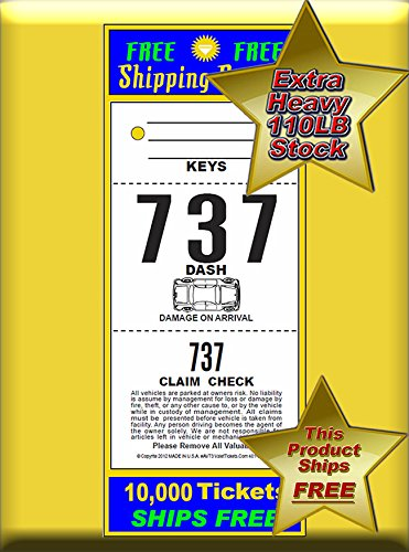 (10,000 Tickets) 3 Part Valet Parking Tickets, Valet Tags, 110lb Card Stock White, Car Diagram on Front