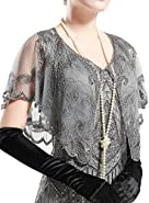 BABEYOND 1920s Shawl Wraps Beaded Evening Cape Bridal Shawl Flapper Cover Up