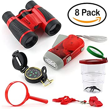 Binoculars for Kids Pack - 8 Gifts in 1 Box - Outdoor Exploration Kit, Children's Toy Binocular - Flashlight, Compass, Whistle, Magnifying Glass. Kids Set for Camping, Hiking and Bird Watching.