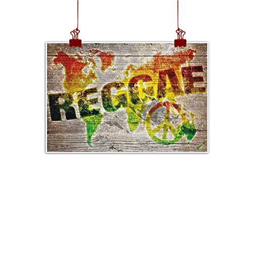 Canvas Prints Wall Decor Art Rasta,World Map on Plaques with Reggae Lettering and Peace Symbol, Pale Brown Green Yellow and Orange 24