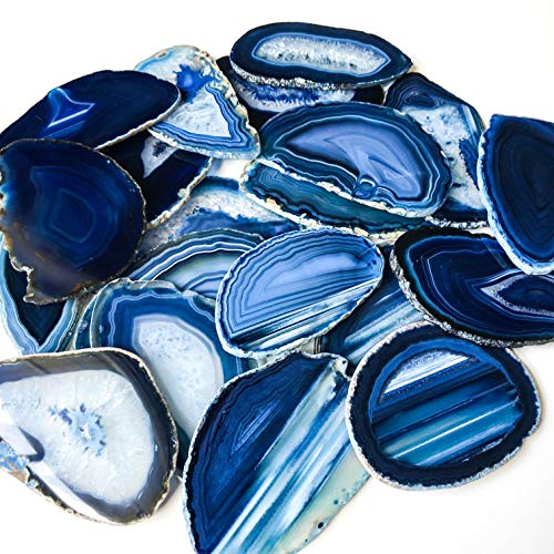 20 Extra Large Agate Placecards 3.75 inch - 4.75 inch Blue Agate Slice A+ Place Cards Bulk Agate Placecards Slabs Geode Wedding Decor for Calligraphy Table Decor Bulk Wholesale Stone (Extra Large)