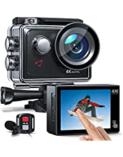 $99 » Action Camera 4K 60FPS Touch Screen, Upgraded EIS, 8X Zoom Dual Microphone, Remote Control, 40M Underwater Camera, PC Webcam, Two 1350mAh Batteries and Free Accessories Kit