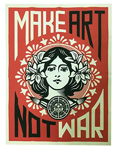 Price comparison product image Make Art Not War Shepard Fairey Decorative Print Wall Poster Custom Poster 18x24Inch