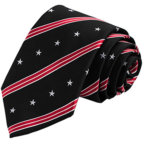 KissTies 100% Silk Tie US Flag Patriotic Necktie + Pocket Square + Magnetic Box