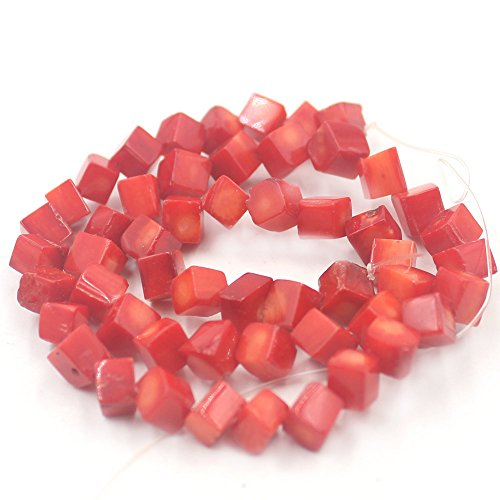 Bamboo Coral Beads - SR BGSJ Cubic Diagonal Red Sea Bamboo Coral Gemstone Jewelry Making Loose Spacer Beads Strand 15