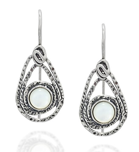 Stera Jewelry 925 Sterling Silver Ornate Teardrop Shaped Mother of Pearl Earrings with Secure Backs