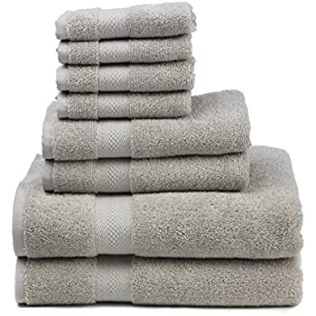 """Premium 100% Cotton 8-Piece Towel Set (2 Bath Towels 30"""" X 52"""", 2 Hand Towels 16"""" X 28"""" and 4 Washcloths 12"""" X 12"""") - Natural, Soft and Ultra Absorbent (Dove)"""