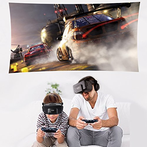 3D VR Headset With Remote Controller for 3D Movies & VR Games, Skin-Friendly Lightweight Comfortable Virtual Reality Headset with Stereo Headphone, Fit for 4.7''-6.2'' iPhone and Android Smartphones by EXCLEAD (Image #8)