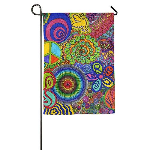 Hippie Hip Hop Colorful Fall Lawn Garden Flags Semi Transparent Polyester Fiber 12 X 18 - Transparent Hippie