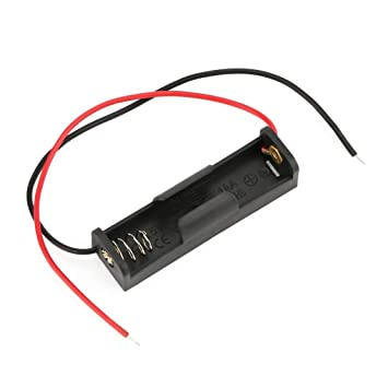 Caja de Almacenamiento de batería con Cable Soporte de Caja de plástico con Cable para 1 x AA Soldadura de batería Conexión Negro Digital: Amazon.es: ...