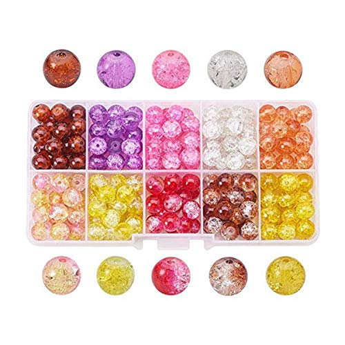1 Box (About 200pcs)8mm Mixed Crystal Crack Glass Beads Round 10 Color Handcrafted Crackle Lampwork Glass Round Beads for Jewelry Making (8mm-Style 2)