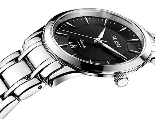 BUREI Women's Thin Wrist Watches with Black Dial Metal Bracelet