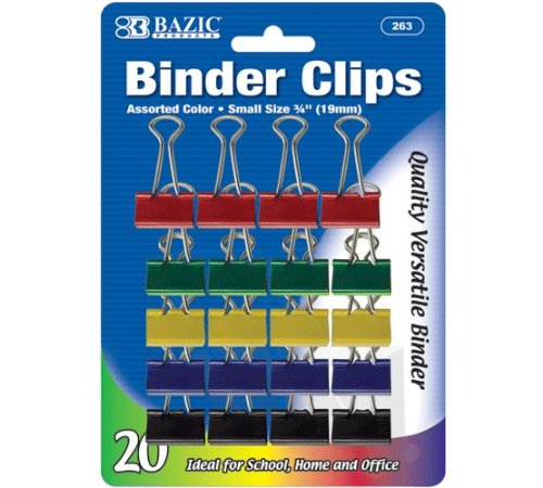 BAZIC Small 3/4'' (19mm) Assorted Color Binder Clip (20/Pack), Case Pack of 144