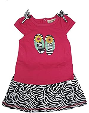 Baby Girls Fuchsia Top Black Zebra Pattern 2 Pc Skirt Outfit 12-24M