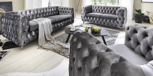 Sofagarnitur 3-2-1 silber grau Chesterfield Emma Samtstoff Knöpfung Modern Landhausstil