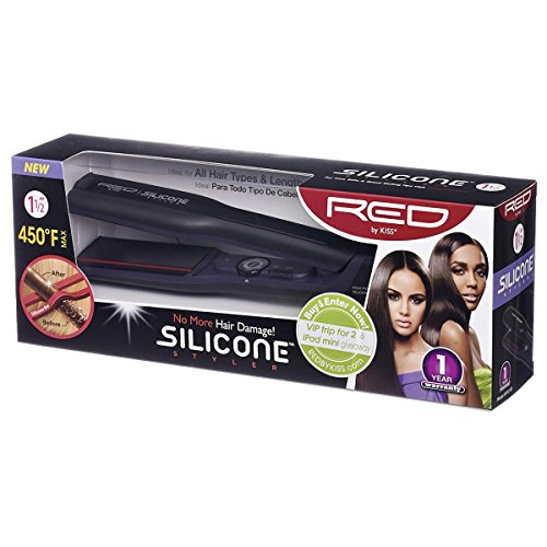 RED Kiss Silicone Flat Iron, 1.5 - Iron Flat Red Kiss