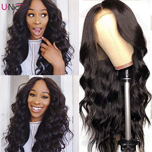 UNice 13x6 Body Wave Lace Front Human Hair Wigs Free Part, Unprocessed Brazilian Virgin Hair Wig, Pre Plucked Natural Hairline with Baby Hair 150% Density (20