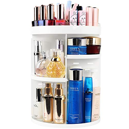 360 Degree Rotation Makeup Tower Organizer, Lazy Susan Cosmetics Storage Shelf Round Makeup Carousel Rotating Display Rack, Best for Countertop Bathroom counter, White