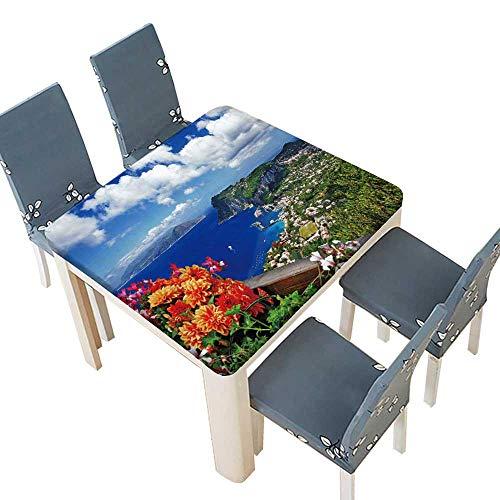 PINAFORE 100% Polyester, Eco-Friendly Safe Beautiful Capri Island Italian Travel Series Spillproof Fabric Tablecloth 29.5 x 29.5 INCH (Elastic Edge) -