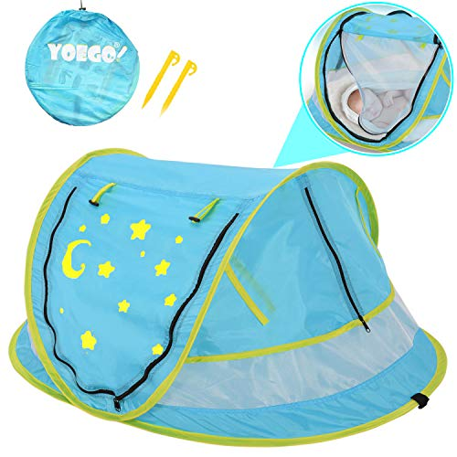 Baby Pop-Up Travel Tent, Yoego【New Version】 Portable Baby Beach Tent, UPF 50+ Sun Shelters Shade, Baby Travel Crib with Mosquito Net,-(No Pad)