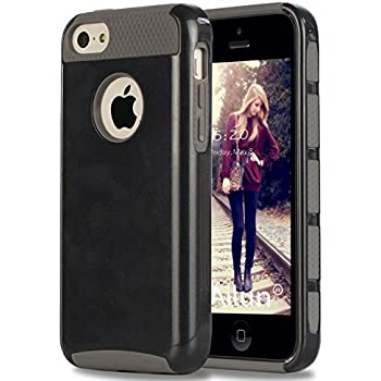 iPhone 5C Case,by Ailun,Soft TPU Bumper&Hard Shell Solid PC Back,Shock-Absorption&Anti-Scratch Hybrid Dual-Layer Slim Cover,Siania Retail Package[Black]