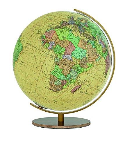 T223451 Columbus Royal Leuchtglobus Tischmodell: TING-kompatibel: Länderinformationen, Wissenswertes, Nationalhymnen, handkaschiertes Kartenbild auf ... Meridian Edelstahl messingfarben