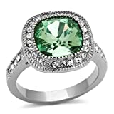 Stainless Steel Halo Cushion Cut Green simulated Stone Engagement Ring (10mm)