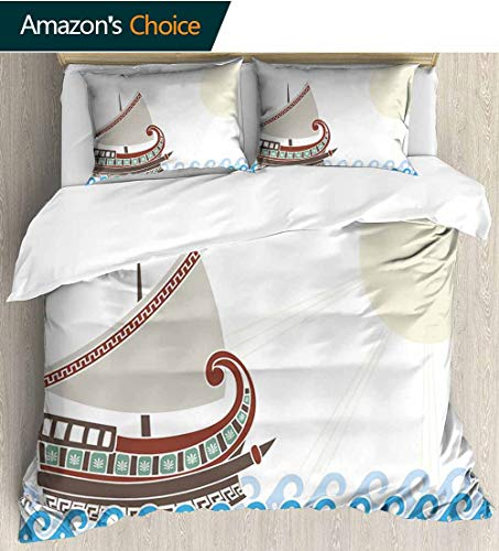 shirlyhome Toga Party 3 Piece Quilt Coverlet Bedspread,Ornate Ship Floating on Classic Greek Style Ocean Waves Faded Sun Bedding Set for Kids,Boys and Teens 104