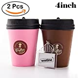 WATINC Kawaii 2pcs Jumbo Squishy coffee cup Squishy Slow Rising Sweet Scented Vent Charms Kid Toy Hand Pillow Hand Wrist Toy Gift, Stress Relief Toy Toy hop props,Doll Gift Fun Large(coffee cup)