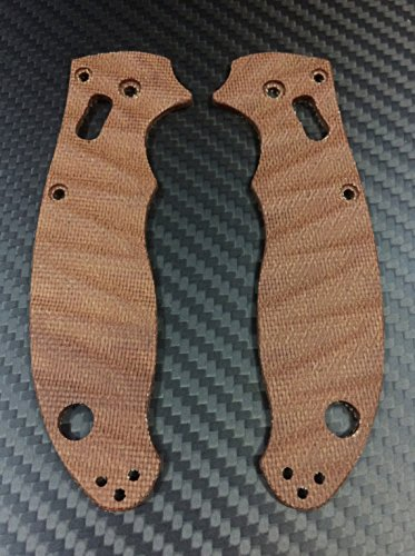 (Scales for Spyderco Manix 2 (Grooved surface) (Brown Micarta))