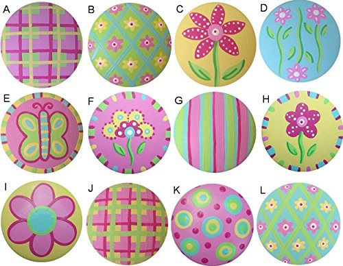 Hand Painted Doors (Colorful Spring Blooms Hand Painted Decorative Kids Childrens Nursery Girls Dresser Drawer Knobs Pulls Choose Your Designs (SINGLE KNOB))