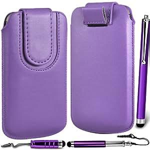 N4U Online Premium PU tirón del cuero del tirón del caso Tab cubierta de bolsa Con magnética Cierre de correa y 3 Pack Bundle Stylus para HTC Desire 501 - púrpura