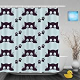 """Cute Cattoon Cat And Small Footprint Decor Bathroom Morden Kawaii Home Collection Shower Curtains Waterproof Mildewproof Polyester Fabric Blue 72""""x72""""Inch"""