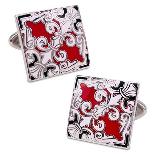 Enamel Elegant Cufflinks - VIILOCK Elegant Fancy Oriental Collection Classic Cloisonne Cufflinks Imperial Enamel Retro Flower Sleeve Button (Red&White)
