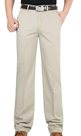 a7e6687e3db Lutratocro Men s Straight Fit Business Plus Size Cozy Chino Pants Trousers  Beige X-Small