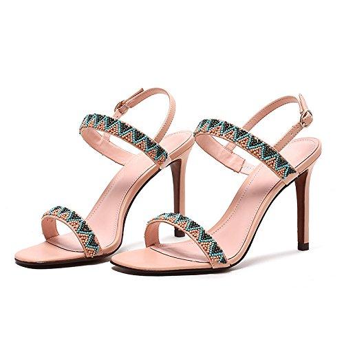 Sandalias de tacón alto VIVIOO Sandalias de tacón alto Rosa fina con sandalias Zapatos de verano Palabra de punta abierta retro con tacones altos Pink 9cm