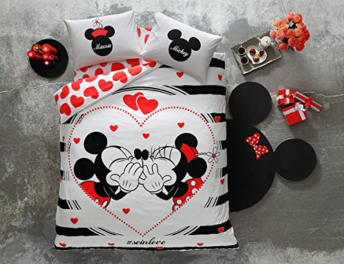 (TAC 100% Cotton Double Queen Size Bedding Set Duvet Quilt Cover Set Mickey Minnie Mouse soinlove )