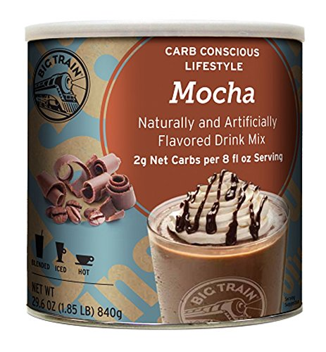 Big Train Carb Conscious Blended Ice Coffee, Mocha, 1.85 Pound, Low Carb Powdered Instant Coffee Drink Mix, Serve Hot or Cold, Makes Blended Frappe Drinks ()