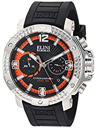 Elini Barokas Men's 'Arena' Swiss Quartz Stainless Steel and Silicone Automatic Watch, Color:Black (Model: 20033-01-OA)