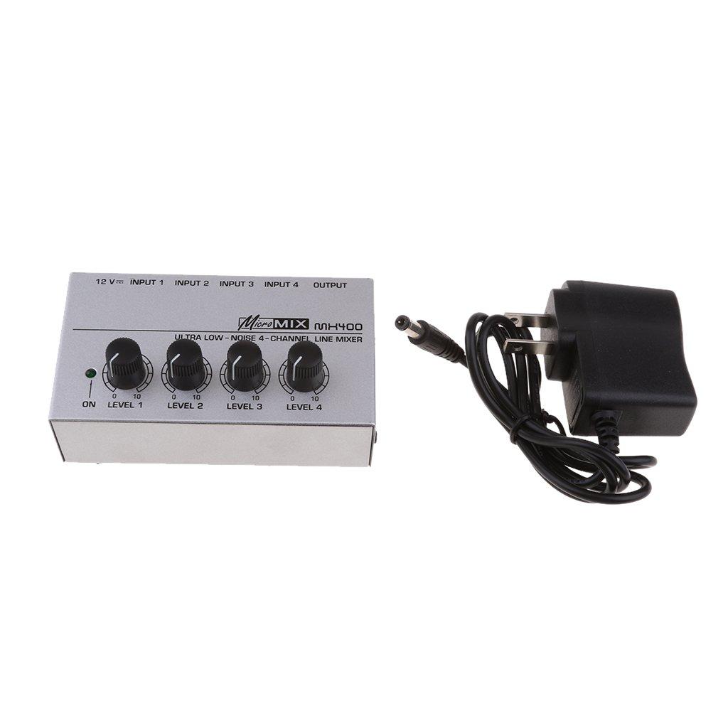 Homyl US Plug Portable Mini Mixer Console 4 Way with Power Supply