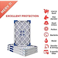 20x25x2 MERV 11 Pleated AC Furnace Air Filter - 4 Pack