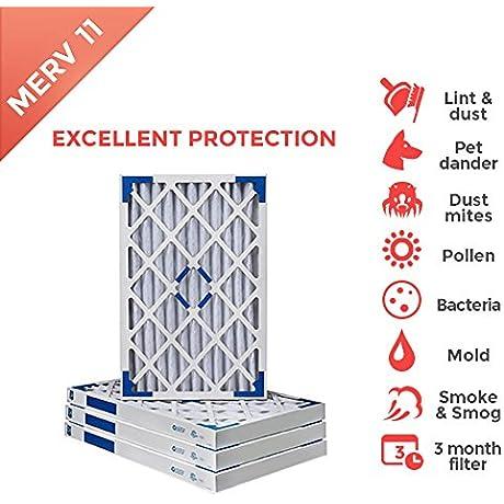 20x25x2 MERV 11 Pleated AC Furnace Air Filter 4 Pack