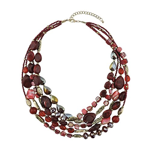 BOCAR Multi Layer 5 Strand Statement Collar Beaded Necklace for Women Gift (NK-10376-wine) -