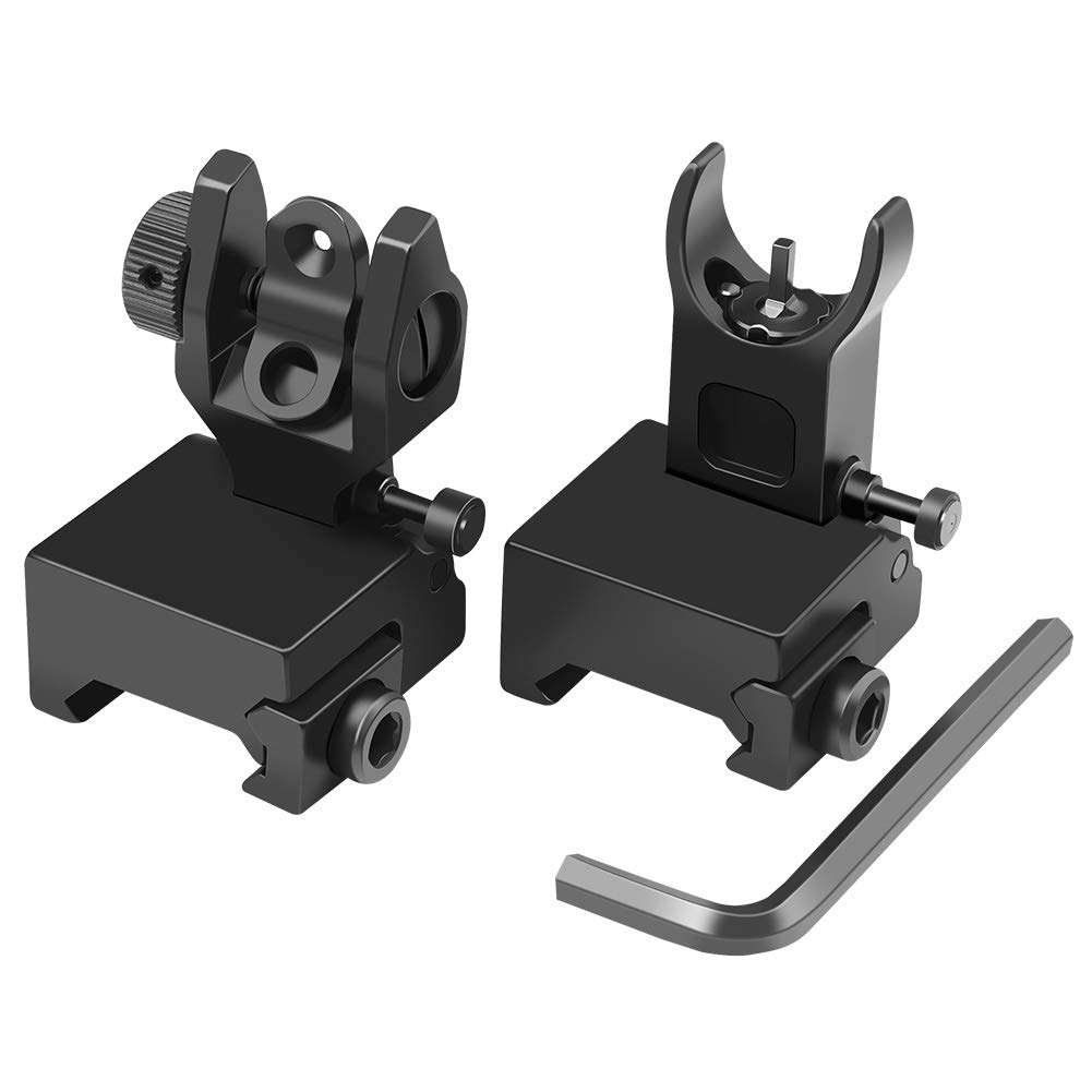 Feyachi Flip Up Iron Sight Front Rear Sight Compatible for Picatinny Rail and Weaver Rail of Rifle, Foldable Sights by Feyachi Gold