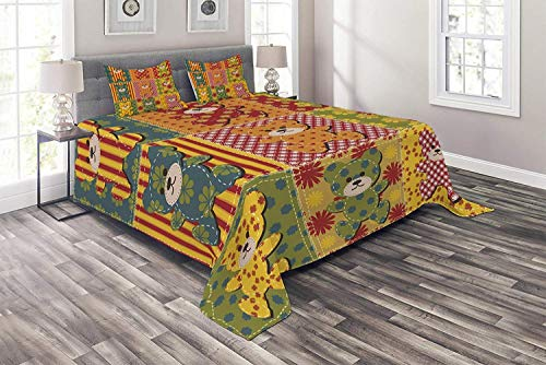 Lohebhuic Cabin Coverlet Set King Size Colorful Kids Pattern with Patchwork Style Teddy Bears Cute Toys Funny Childish Print 3 Piece Decorative Quilted Bedspread Set with 2 Pillow Shams
