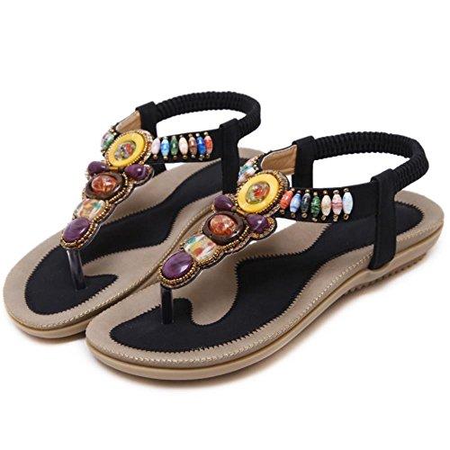 FANIMILA Moda Mujer Basic Bohemian Clip Toe Tacon Bajo Flip Flop Sandalias Negro