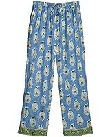 Women's Cotton Pajama Set - Border Paisley Periwinkle Blue Print